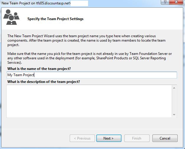 Create a new Team Project using Visual Studio 2012/Team