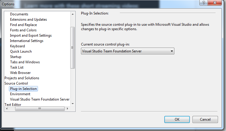 Next Click On The Visual Studio Team Foundation Server Option Under Source Control And Perform Following Steps