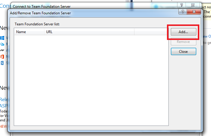 How to: Configure Visual Studio 2015 to Connect to Team