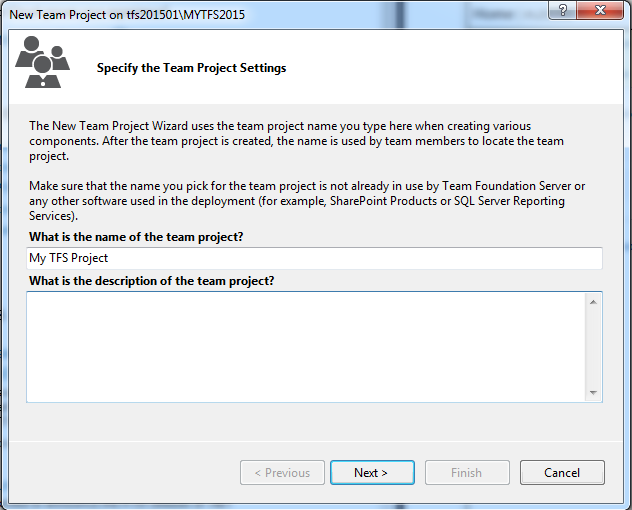 How to: Create a New Team Project - TFS