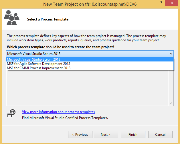 How to create a new team project tfs for Team foundation server process templates